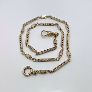 """Early 1900s 15"""" Ornate Gold Filled Pocket Watch Chain (8994)"""