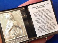 IMMACULATE HEART MARY Silver Metal Saint Plaque Folder Pocket Catholic SHRINE