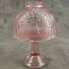 PINK GLASS FAIRY CANDLE LAMP WITH FLORAL PATTERN SHADE & TEALIGHT CANDLE