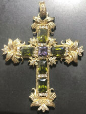 Cross Pendant With Peridots And Amethyst Vintage Large 9ct Gold On Silver