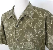 Columbia XL Camp Style Shirt Green Floral Swirl Button Up Short Sleeve Textured