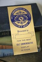 Vintage Colt Gun Collector Brass Plaque badge sign horse Show display trophy old