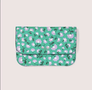 Kate Spade New York Floral Party Pouch NWT Green Clutch