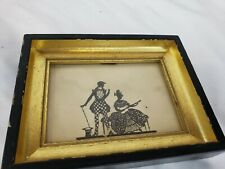 Beautiful small antique / vintage silhouette art, framed