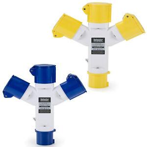 Defender 3-Way Splitter Adaptor 16amp Plug / Sockets (110v or 240v)