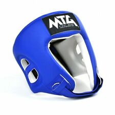 MTG Boxing Headguard Blue Open Face Synthetic Leather Competition