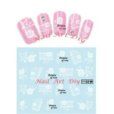 20stickers-decals nail art water transfer-tattoo adesivi-FIORI bianchi con PIZZO