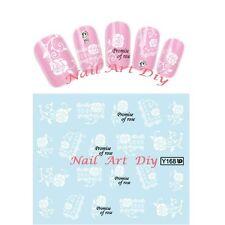 20stickers-decals nail art water transfer-tattoo adesivi-FIORI bianchi con PIZZO