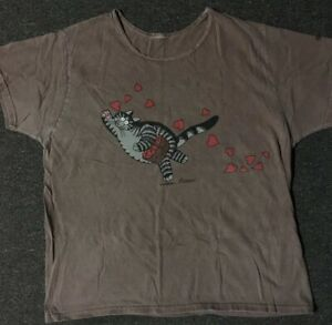Vtg 90s Crazy Shirts B Kliban Cat Love Shirt M Hearts USA Grunge Vaporwave Dog