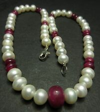185 Ct Natural Ruby & Pearl Loose Beads Gemstone 6 To 8 mm 17'' Inch Necklace