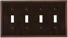 Metro Line Antique Bronze Four (4) Toggle Switchplate Wallplate