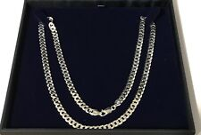 NEW, CASED, MENS STERLING SILVER 24 INCH CURB CHAIN 6MM WIDE - 22G 50% OFF RRP