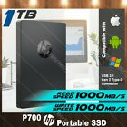 HP P700 1TB Portable SSD Solid State External Hard Drive USB 3.1 Gen 2 Type C