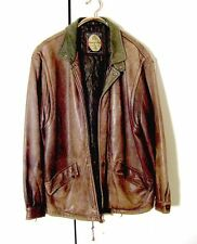 Vtg Distressed Brown Leather Members Only Bomber Jacket Sz L /XL