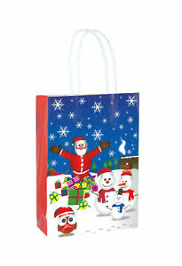 6 Christmas Bags With Handles - Luxury Party Treat Sweet Loot Lunch Gift