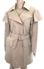 Rebecca Taylor Trench Coat Size S Light Brown Faille Ruffle Dropped Shoulder