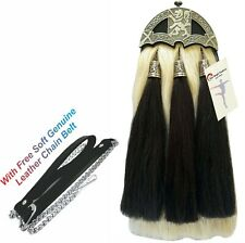 Scottish Kilt Original Long Horse Hair Dress Sporran Rampant Lion Cantle&Tassels