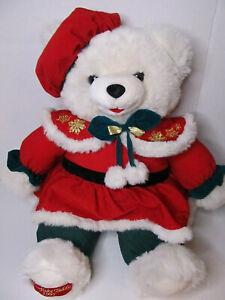 "Snowflake TEDDY BEAR 1995 WalMART CHRISTMAS  White Girl 22"" Red green Outfit"