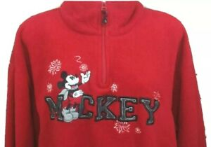 Disney Plus Mickey Mouse Pullover Fleece 2X Womens Red Winter Snowflakes