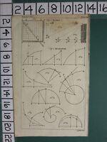 1754 Antico Stampa ~ Quadrat Quadrature Vari Diagrammi