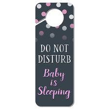 Do Not Disturb Baby is Sleeping Pink Plastic Door Knob Hanger Sign