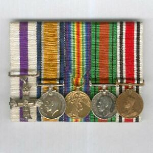 Period Miniature Great War and World War II Military Cross Group of Five