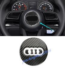 Real Carbon Fiber Inner Steering Wheel Logo Cover Trim For Audi A3 8V 2014-2018