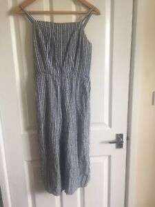 Old Navy Wide Cropped Leg Stripe JumpSuit S Petite Blue White Linen Mix Pockets
