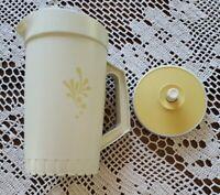 Vintage Tupperware 1 Qt Pitcher ~ 874-14 ~ Almond Harvest Gold ~ Push Button Lid