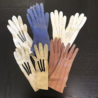Vintage Ladies Leather Gloves Lot of 5 Brown White Blue Suede with Fancy Buttons