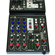 Peavey PV 6 BT Stereo Live Sound Audio Recording Studio Mixer with Bluetooth
