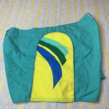 Vintage 80s Sun Britches Green Board Shorts Swimsuit Sz 36