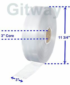 """3"""" x 2150' Clear Poly Tubing Tube Plastic Bag Polybags Custom Bags on a Roll 2ML"""