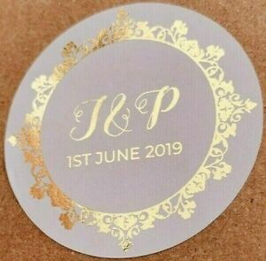 45x Personalised Foiled YELLOW GOLD 25MM WHITE WEDDING ROUND LOGO LABEL STICKERS