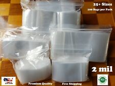 Clear Reclosable Zip Seal Lock Top Bags Plastic 2 Mil Jewelry Large Small Baggie