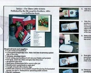 1:12 Paper Mini Dollhouse size Book Kits ~ The Three Little Kittens! A favorite!
