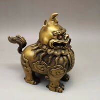 Chinese Old copper handmade unicorn lion incense burner Home decoration