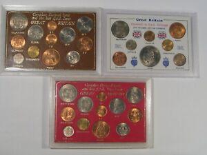 3 British Decimal Mint Sets UK Great Britain - Some Cracks.  #33