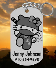 Hello Kitty NINJA Keychain or Kids Backpack ID Bag Tag, Personalized FREE