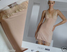 new Wolford nude slip XS crochet lace stretch jersey boxed chemise