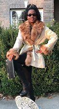 Designer White beige cream & Russian Sable Fur Trim Coat Jacket stroller M 0-10
