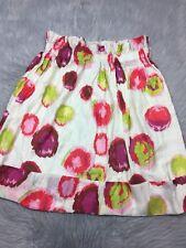 Lapis Anthropologie Cream Pink Red Green Spot Gathered Skirt Sz L