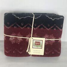 Woolrich Jacquard Berber Throw w/trees Bears Red Black 50x68 NIP