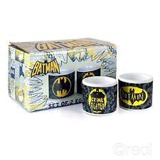 DC Comics BATMAN SET OF 2 EGG CUPS Crime Fighter Logo Retro Official
