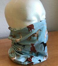 Greyhound Dog or Whippet Print Gaiter Face Mask Headband Neck Scarf, Aqua