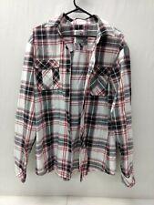 PJ Mark Men's Long Sleeve Button Down Dress Shirt Size XL Black Red White Plaid