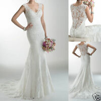 Mermaid Lace White/Ivory Wedding Dress Bridal Gown Custom Size 6 8 10 12 14 16++