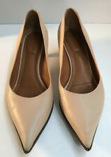 GIVENCHY Leather Zipper Trim Heels Pumps Kitten Size 10M Creamy Nude Pink