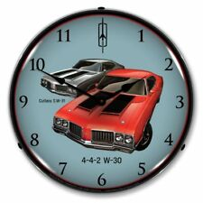 "14"" Double Bubble Oldsmobile Cutlass 442 Retro BackLit Garage Clock GM1701719"