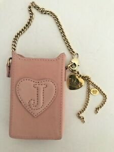 Juicy Couture Cell phone Case Gold Chain Strap Pink Leather EUC